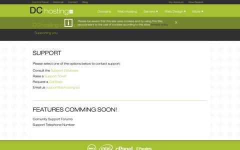 Screenshot of Support Page dchosting.co - Support | DChosting.co - captured Nov. 3, 2014