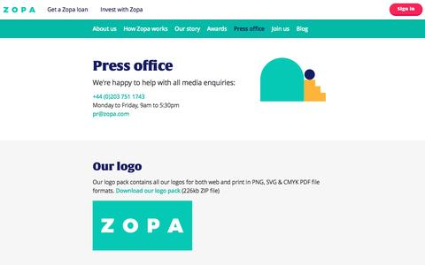 Screenshot of Press Page zopa.com - Press office | About Zopa | Zopa.com - captured May 1, 2017