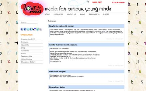 Screenshot of Testimonials Page lovetoread.com - Love To Read   Testimonials - captured Oct. 3, 2014