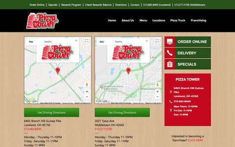 Screenshot of Locations Page Maps & Directions Page pizzatower.com - Pizza Tower | Cincinnati : Mason : Kings Island | Pizza Delivery - captured July 2, 2018