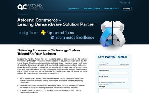 Screenshot of About Page astoundcommerce.com - About Astound Commerce - Demandware Solution Provider | Demandware E-Commerce - captured Sept. 30, 2014