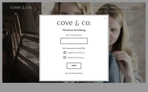 Screenshot of Home Page cove.de - cove&co - Die Ma�schneider f�r den Ma�anzug mit Stil - captured Jan. 19, 2016