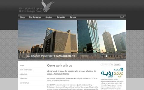 Screenshot of Jobs Page alsaqergroup.com - Come work with us | United Al Saqer Group - captured Nov. 4, 2014