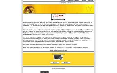 Screenshot of Home Page nev-comm.com - Nev-Comm (702) 320-2800  Avaya Business Partner - Avaya & Nortel  Voice & Data Solutions - captured Oct. 9, 2014