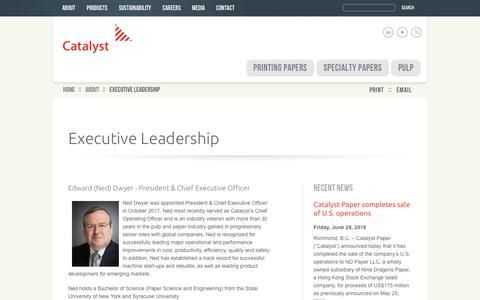 Screenshot of Team Page catalystpaper.com - Executive Leadership   Catalyst Paper - captured July 16, 2018