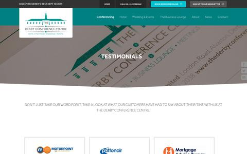 Screenshot of Testimonials Page thederbyconferencecentre.com - Conferencing Testimonials | The Derby Conference Centre - captured Oct. 20, 2018