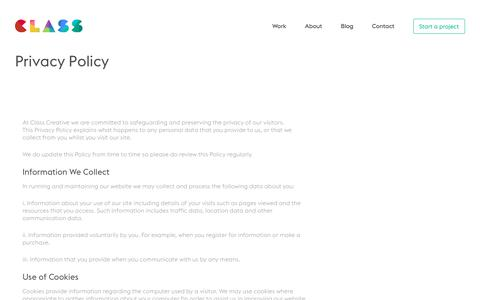 Privacy Policy - Class Creative - Web design Birmingham