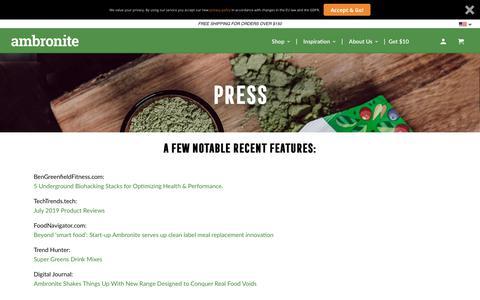 Screenshot of Press Page ambronite.com - Press - Ambronite US - captured Aug. 23, 2019