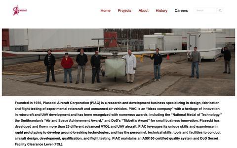 Screenshot of Jobs Page piasecki.com - Careers – Piasecki Aircraft Corporation - captured Dec. 14, 2018