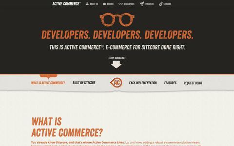 Screenshot of Developers Page activecommerce.com - Developers! - captured Sept. 30, 2014