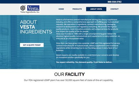 Screenshot of About Page Contact Page vestaingredients.com - Vesta Ingredients | Dietary Supplement | Contract Manufacturing - captured Oct. 27, 2017