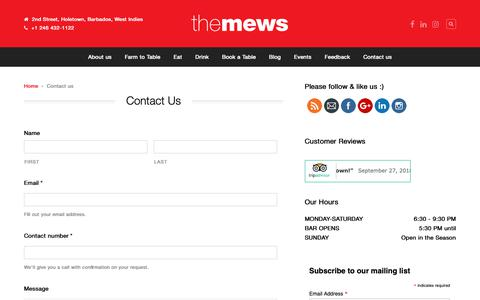 Screenshot of Contact Page themewsbarbados.com - Contact us - The Mews Barbados - captured Oct. 18, 2018
