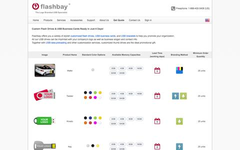 Screenshot of Products Page flashbay.com - Promotional USB Flash Drives | USB Flash Cards in bulk quantity - Flashbay.com - captured Oct. 10, 2014