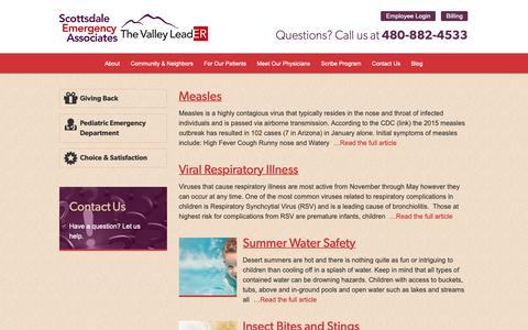 Screenshot of Blog thevalleyleader.com - Blog  |  Scottsdale Emergency Associates - captured Oct. 18, 2018
