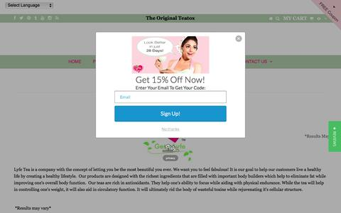 Screenshot of About Page lyfetea.com - Healthy Lifestyle – Lyfe Tea - captured Jan. 29, 2017