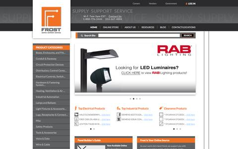 Screenshot of Home Page frostelectric.com - Electrical Supply & Lighting Distributor | Frost Electric - captured Oct. 6, 2014