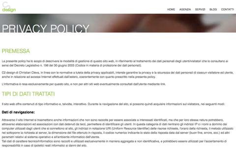 Screenshot of Privacy Page c2design.it - Informativa sulla privacy - C2 design Web Agency - captured Feb. 27, 2017