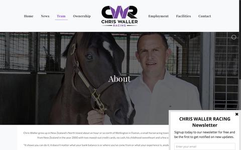 Screenshot of About Page cwallerracing.com - Chris Waller Racing - About - captured Sept. 28, 2018