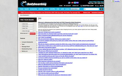 Screenshot of FAQ Page ebodyboarding.com - FAQ - captured Sept. 19, 2014