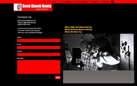 Screenshot of Contact Page geeksheekbeats.com - Geek Sheek Beats homepage | Contact - captured May 15, 2017