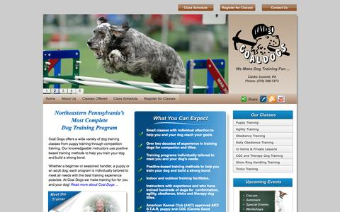 Screenshot of Home Page coaldogs.com - Coal Dogs: Dog and Puppy Training in Scranton, PA - captured Sept. 30, 2014