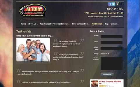 Screenshot of Testimonials Page alterryplumbing.com - Plumbing Heating Air Conditioning Service Testimonials NH | Al Terry Plumbing & Heating - captured Oct. 4, 2014