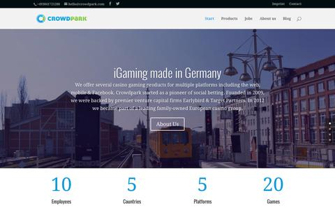 Screenshot of Home Page crowdpark.com - Crowdpark - Casino Games - iGaming made in Berlin / Germany - Slots for Mobile (iOS, Android, HTML5) & Web - captured Nov. 10, 2015