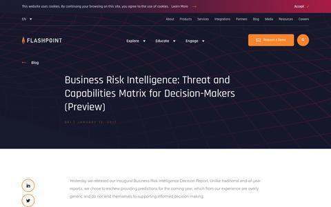 Screenshot of Blog flashpoint-intel.com - Business Risk Intelligence: Threat and Capabilities Matrix - captured Nov. 12, 2019