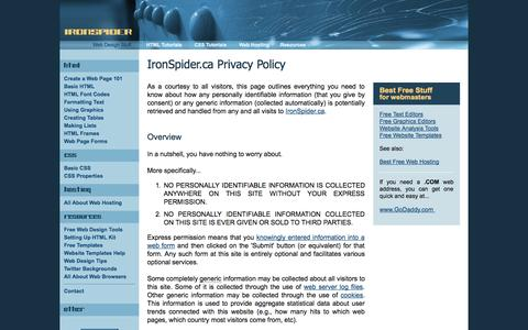 Screenshot of Privacy Page ironspider.ca - IronSpider.ca Privacy Policy - captured Oct. 31, 2014
