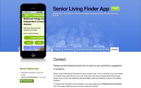 Screenshot of Contact Page senior-living-finder.com - Contact - Senior Living Finder App - captured March 3, 2016