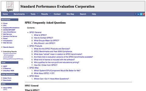 Screenshot of FAQ Page spec.org - SPEC Frequently Asked Questions - captured Sept. 20, 2016