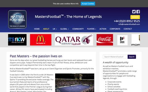 Screenshot of About Page mastersfootball.com - Past Masters – the passion lives on - MastersFootball - captured June 19, 2016