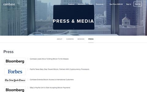 Screenshot of Press Page coinbase.com - Coinbase Press - Coinbase - captured Oct. 28, 2014