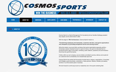Screenshot of About Page cosmossports.com - Sports Business, Marketing Mississauga, Ottawa, Vancouver, Edmonton | Cosmos Sports - captured Oct. 2, 2014