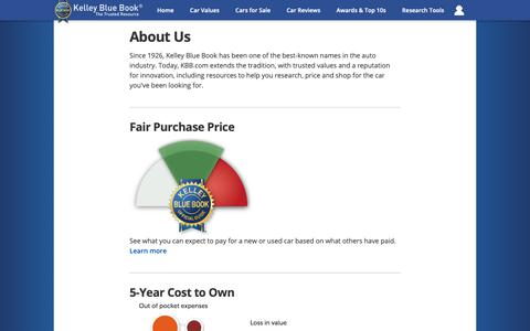 Screenshot of About Page kbb.com - About Us | Kelley Blue Book - captured Oct. 19, 2018