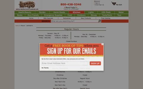 Screenshot of Hours Page lehmans.com - Hours - Lehman's - captured July 21, 2015