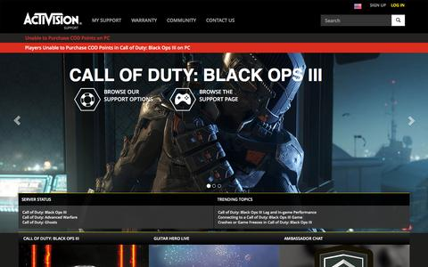 Screenshot of Support Page activision.com - Activision Support - captured Dec. 19, 2015