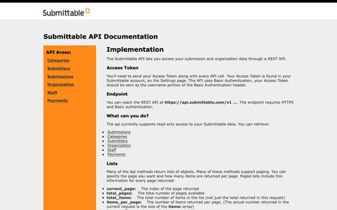 Screenshot of Developers Page submittable.com - Submittable API Documentation - captured May 23, 2019