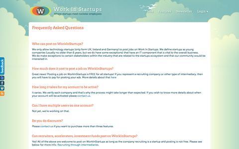 Screenshot of FAQ Page workinstartups.com - FAQ - Work In Startups - captured June 29, 2016