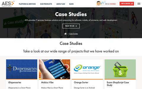Screenshot of Case Studies Page advanceecomsolutions.com - Case Studies   AES - captured Jan. 16, 2020