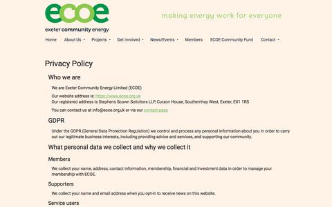 Screenshot of Privacy Page ecoe.org.uk - Privacy Policy - ECOE - captured Sept. 22, 2018