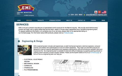 Screenshot of Services Page emi-marine.com - SERVICES - captured Nov. 7, 2016