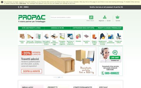 Screenshot of Home Page propac.it - Scatole e Imballaggi in Cartone, Plastica o Legno   Propac.it Catalogo Online - captured Nov. 8, 2018