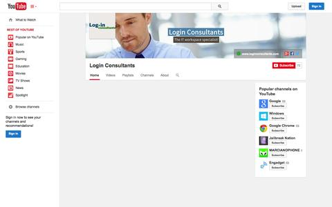 Screenshot of YouTube Page youtube.com - Login Consultants  - YouTube - captured Oct. 26, 2014