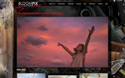 Screenshot of Home Page bloompix.com - Post-Produzione Video Milano » BLOOMPIX VISUAL EFFECTS - captured Oct. 4, 2014