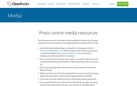 Screenshot of Press Page clearbooks.co.uk - Media Centre | Clear Books™ - captured July 16, 2019
