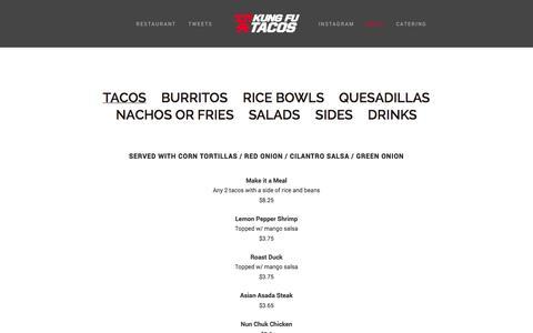 Screenshot of Menu Page kungfutacos.com - Menu — Kung Fu Tacos - captured Oct. 29, 2014