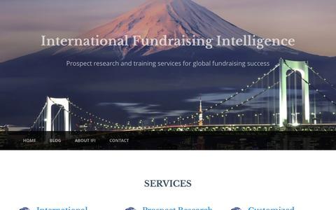 Screenshot of Home Page ifintelligence.com - International Fundraising Intelligence LLC - captured Sept. 7, 2015