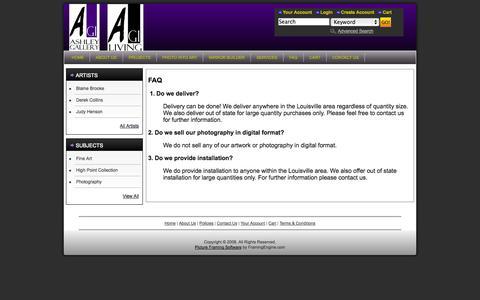 Screenshot of FAQ Page ashleygalleryinc.com - Ashley Gallery Inc | Inspiration begins here.   - FAQ - captured Sept. 30, 2014