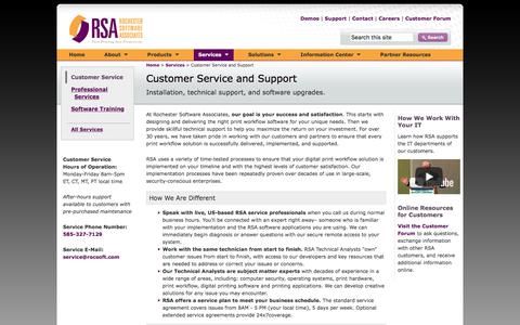 Screenshot of Support Page rocsoft.com - Rochester Software Associates Customer Service and Support for digital print workflow automation software - captured Oct. 22, 2017